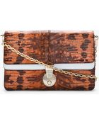 Kenzo Mottled Orange Reptile Leather Convertible Clutch - Lyst
