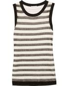 Oscar de la Renta Striped Metallic Silkblend Top - Lyst