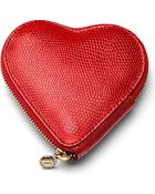 Aspinal Heart Lizardembossed Leather Coin Purse - Lyst