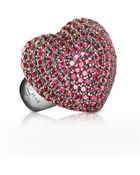 Azhar Sterling Silver And Cubic Zirconia Big Heart Ring - Lyst
