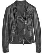 Forzieri Diagonal Zip Black Leather Motorcycle Jacket - Lyst