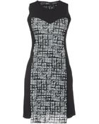 Almeria Sleeveless Crew Neckline Gray Short Dress - Lyst