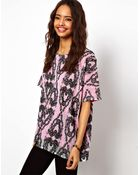 Asos T-Shirt With Embroided Lace - Lyst