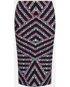 Topshop Chevron Print Tube Skirt - Lyst