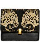 Roberto Cavalli Hera Leopard Print Leather Shoulder Bag - Lyst