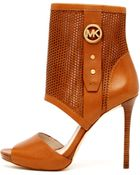MICHAEL Michael Kors Daria Perforated Open Bootie - Lyst