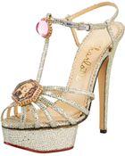 Charlotte Olympia Leading Lady Glitter Platform Sandal Silver - Lyst