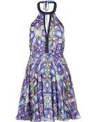 Matthew Williamson Escape Printed Silk Halter Dress In Blue - Lyst