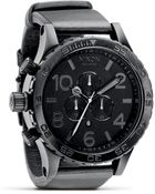 Nixon The 5130 Chrono Round Matte Black Watch with Leather 5125mm - Lyst
