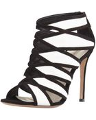 Gianvito Rossi Two Tone Suede Leather Cage Bootie - Lyst