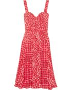 Oscar de la Renta Ruffled Ginghamprint Silk Dress - Lyst