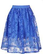 Topshop Blue Burnout Floral Midi Skirt - Lyst