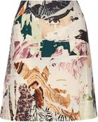 Carven Collage-print Wool-blend A-line Skirt - Lyst