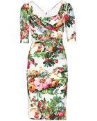 Dolce & Gabbana Print Silk Dress with Drape Detail - Lyst