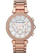 Michael Kors Parker Rose Gold Plated Chronograph Watch Mother Of Pearl - Lyst