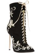 Casadei Embroidered Stiletto Boot - Lyst