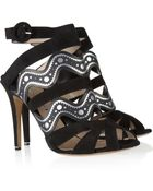 Nicholas Kirkwood Suede and Printed Fauxleather Sandals - Lyst