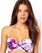 Asos Francesca Floral Padded Fuller Bust Longline Bikini Top Df - Lyst