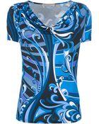 Emilio Pucci Printed Cowl Neck Tshirt - Lyst