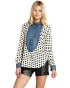 BCBGeneration Contrast Button-Up Blouse - Lyst