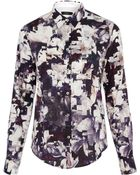Paul Smith Black Label Navy Magnolia Print Shirt - Lyst