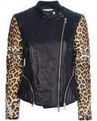 3.1 Phillip Lim Leopard Print Sleeve Biker Jacket - Lyst