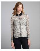 BCBGeneration Pastel Blue And Black Floral Print Chiffon Button-Down Blouse - Lyst