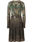 Etro Wool Blend Belted Wrap Dress - Lyst