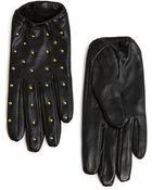 Mango Studded Short Leather Gloves - Lyst