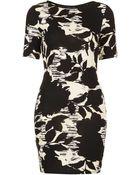 Topshop Floral Print T-shirt Dress - Lyst