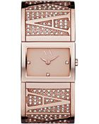 Armani Exchange Ax Armani Exchange Watch Womens Rose Gold Ion Plated Stainless Steel Bracelet 19x26mm - Lyst