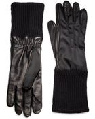 Prada Nylon And Nappa Leather Gloves - Lyst