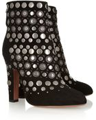 Alaïa Studded Cutout Suede Ankle Boots - Lyst