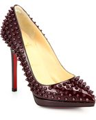 Christian Louboutin Pigalle 120 Spiked Patent Leather Pumps - Lyst