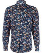 Naked & Famous Navy Tropical Print Cotton Shirt - Lyst