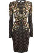 Alexander McQueen Rhombic Floral Print Jersey Dress - Lyst