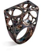Arosha Luigi Taglia Big Bubbles Sculpture Ring Black Sterling Silver - Lyst