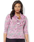 Lauren by Ralph Lauren Plus Three Quarter Sleeved Paisley Cotton Ruffle Front Top - Lyst