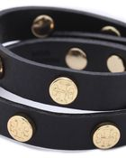 Tory Burch Double Wrap Logo Bracelet - Black - Lyst