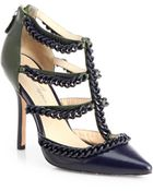 Isa Tapia Angelina Chaintrimmed Leather Tstrap Pumps - Lyst