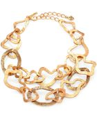 Oscar de la Renta Textured Abstract Bib Necklace - Lyst