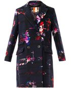 MSGM Floral Checkedprint Coat - Lyst