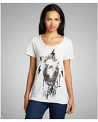 Second Sunday Light Silver Cotton Blend 'Fix' Skull Graphic T-Shirt - Lyst
