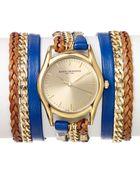 Sara Designs Blue Leather Chain Wrap Watch 33mm - Lyst