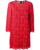 Dolce & Gabbana Lace Shift Dress - Lyst