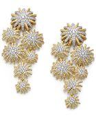 David Yurman Diamond 18k Yellow Gold Starburst Cluster Drop Earrings - Lyst