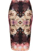 Topshop Bruised Floral Tube Skirt - Lyst