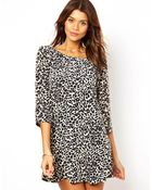 John Zack Shift Dress In Leopard Print - Lyst