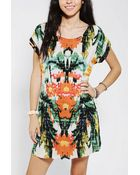 Urban Outfitters Staring At Stars Silky Mirrored Photo Print Dress - Lyst