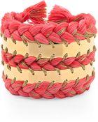 Aurelie Bidermann Flamingo Pink Gold Cuff Triple Braided with Threads - Lyst